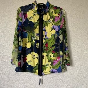 Luisa Cerano Floral Zip Front Light Jacket size 12